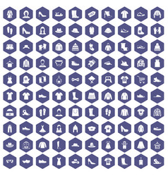 100 rags icons hexagon purple vector