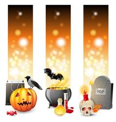 3 halloween banners vector image