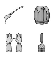 A spoon of honey protective gloves a barrel of vector