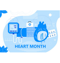 American heart month in us in february horizontal vector
