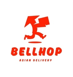 Asian deliveryman runs speed delivery cargo box vector