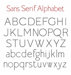 basic skeleton sans serif alphabet with uppercase vector image