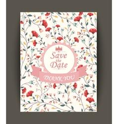 Beautiful vintage flowers invitation vector image