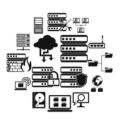 big data icons set simple style vector image