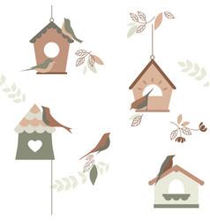 bird breeding houses wallpaper repeating vector image