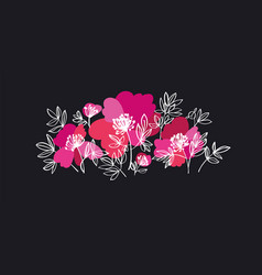 Bold pink peony flowers decorative element vector