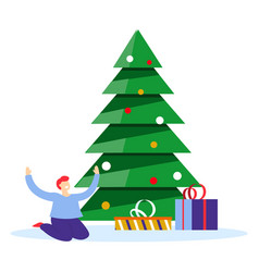boy in pyjamas finding wrapped presents under vector image