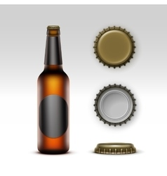 Brown Bottle Beer with Black label and Set of Caps vector image