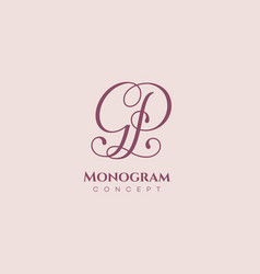 Calligraphic monogram gp vector