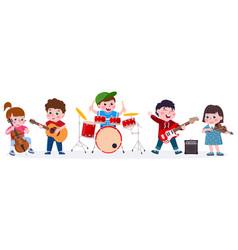 cartoon kids music band playing musical vector image