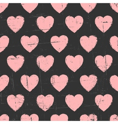 Chalkboard style seamless hearts vintage pattern vector image