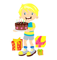 Children birthday boy with gift vector