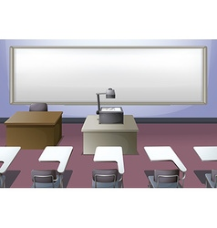 Classroom with projector and desks vector image