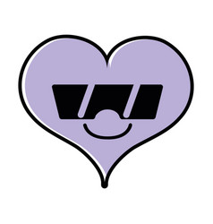 Color smile heart passion kawaii with sunglasses vector