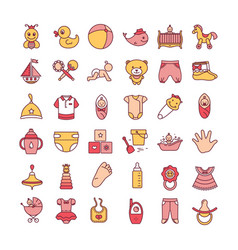 colorful baby toys and clothes icon set isolated vector image