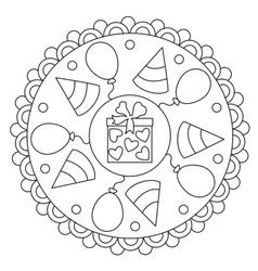 Coloring Simple Celebration Mandala vector