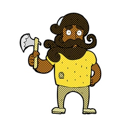 Comic cartoon lumberjack with axe vector