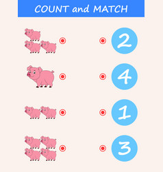 Count and match pig cartoon vector