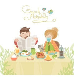 Couple in love having breakfast vector