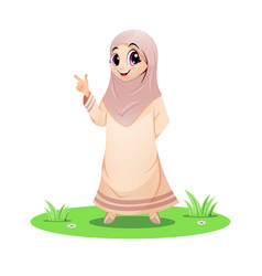 Cute muslim girl standing in grass and pointin vector