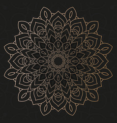 Decorative floral mandala with black background vector