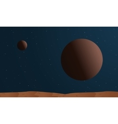 desert with big planet space vector image