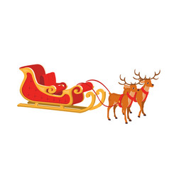 design of santa sleigh with reindeer vector image