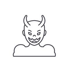 devil line icon concept devil linear vector image