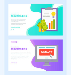 donate online and cash report crowdfunding vector image