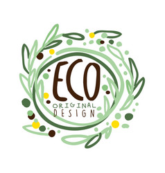 eco label original design logo graphic template vector image vector image