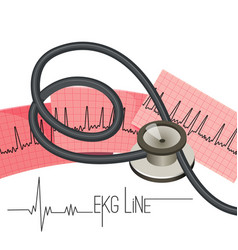 Ekg line on long paper sheet and medical vector