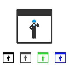 Engineer calendar page flat icon vector