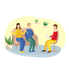 Family counseling with a psychologist vector