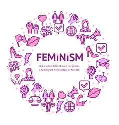 feminism signs round design template thin line vector image
