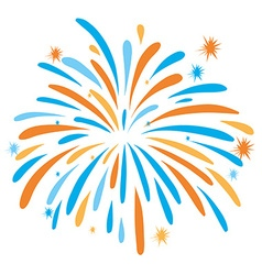 Fire work in orange and blue color vector