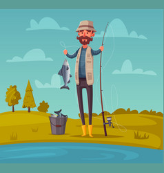 fisherman with fishing rod vector image