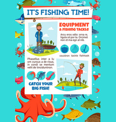 fishing contest invitation with fisher and tackle vector image
