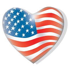 Flag of America heart shape vector image