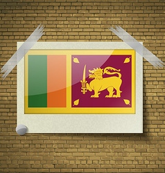 Flags Sri Lankaat frame on a brick background vector image