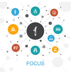 Focus trendy web concept with icons contains such vector