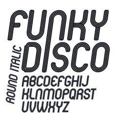 Funky italic alphabet letters set with parallel vector