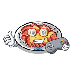 Gamer carpaccio isolated with in mascot vector
