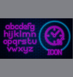 Glowing neon clock 24 hours icon isolated on brick vector