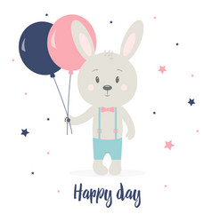 Greeting card with rabbit vector