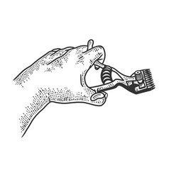 hair clipper in hand sketch vector image