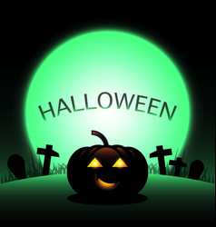 halloween pumpkin created green moon background vector image