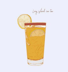 Hand drawn of cocktail long island ice tea vector