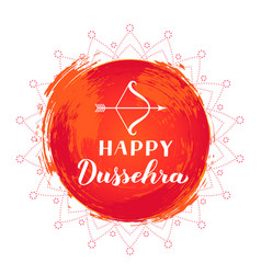 Happy dussehra hand lettering with bow and arrow vector