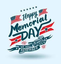 Happy memorial day lettering vector
