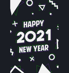 happy new year 2021 holographic shapes card vector image